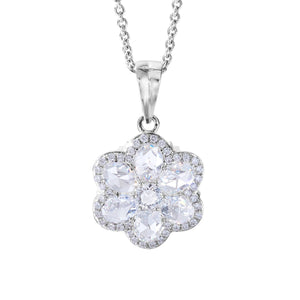 64Facets Floral Diamond Pendant with Seven Rose Cut Diamonds and Pave Accents in 18K White Gold