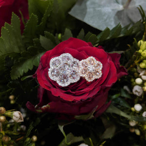 64Facets Rose Cut Floral Diamond Stud Earrings with Diamond Pave Accents 3.25 Carat Stud in White Gold Next to 1 Carat Stud in 18K Rose  Gold
