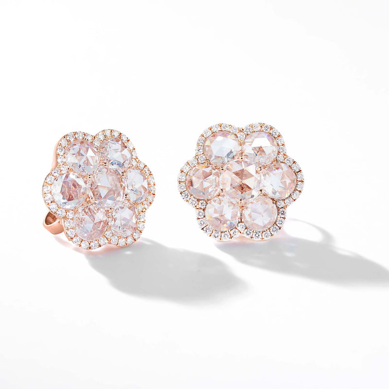 64Facets Rose Cut Floral Diamond Stud Earrings with Pave Diamond Accents in 18K Rose Gold