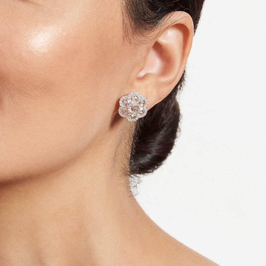 64Facets Rose Cut Floral Diamond Stud Earrings with Pave Diamond Accents in 18K White Gold