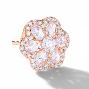64Facets Rose Cut Floral Diamond Stud Earrings with Diamond Pave Accents and 18K Rose Gold