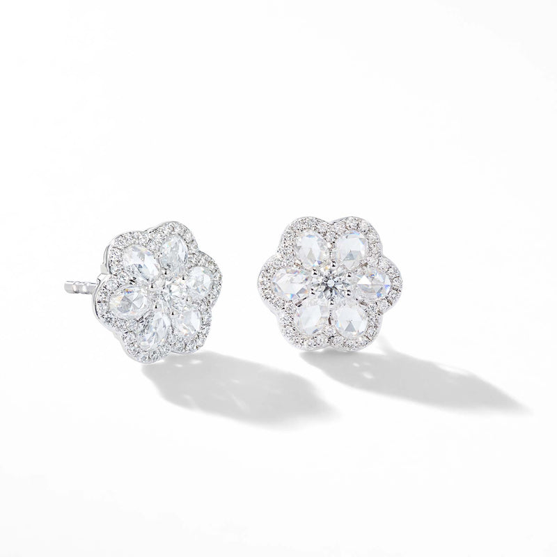 64Facets Rose Cut Floral Diamond Stud Earrings with Diamond Pave Accents and 18K White Gold