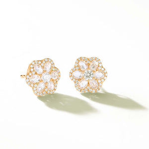 64Facets Rose Cut Floral Diamond Stud Earrings with Diamond Pave Accents and 18K Yellow Gold