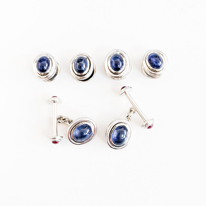 Gemstone Cabochon Cufflinks and Shirt Studs - Available with Sapphires, Emeralds and Rubies