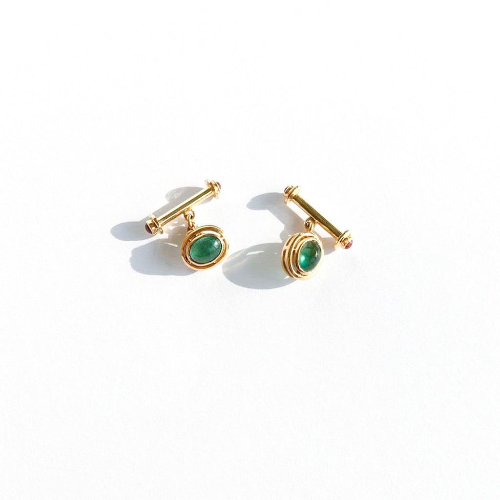 Gemstone Cabochon Cufflinks - Available with Sapphires, Emeralds and Rubies