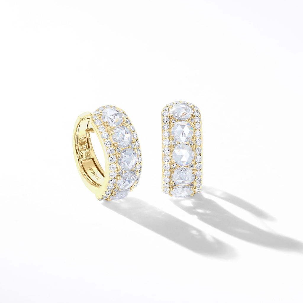 64Facets Linear Diamond Huggie Earrings in 18K Gold With Rose Cut Diamonds and Diamond Pave Accents