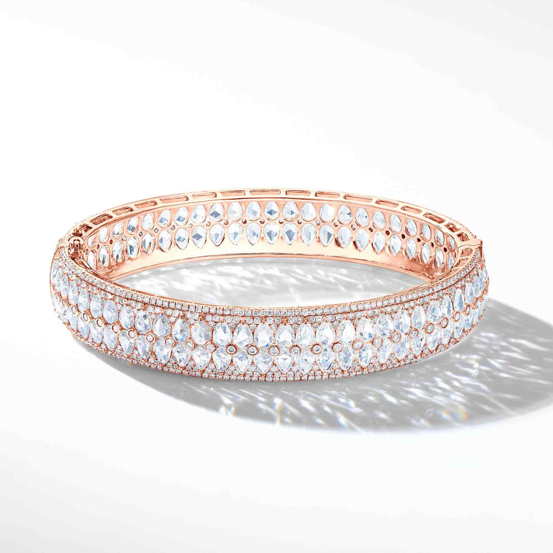 64Facets Rose Cut Diamond Bangle Bracelet in 18K Rose Gold