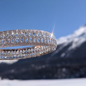 64Facets Rose Cut Diamond bangle Bracelet in 18K White Gold in St Moritz