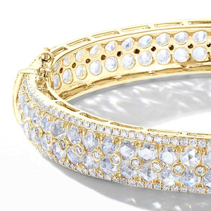 64Facets Rose Cut Diamond Bangle Bracelet in 18K Yellow Gold