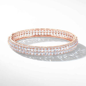 64Facets Rose Cut Diamond Bangle Bracelet in 18K White Gold