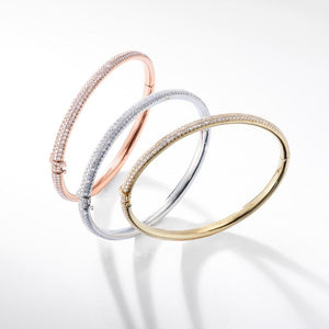 Brilliant Cut Micro Pave Diamond Bangle Bracelet in 18k Rose, White and Yellow Gold.