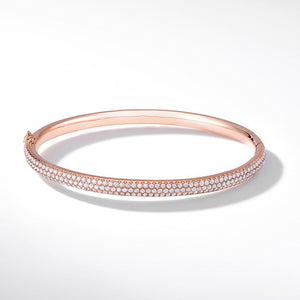Brilliant Cut Micro Pave Diamond Bangle Bracelet in 18k Rose Gold.