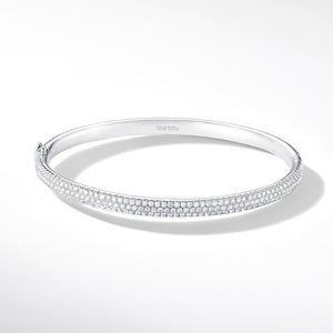 Brilliant Cut Micro Pave Diamond Bangle Bracelet in 18k White Gold.
