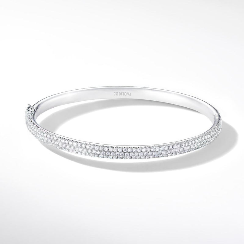 Brilliant Cut Micro Pave Diamond Bangle Bracelet in 18k Yellow Gold.
