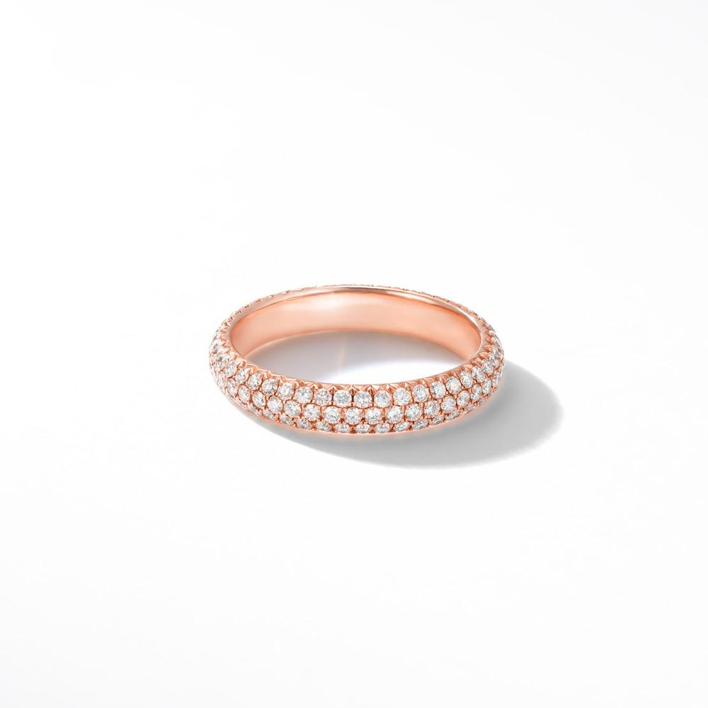 18K Rose Gold Band with Brilliant Cut Pave Diamonds. Available in White, Rose and Yellow Gold.