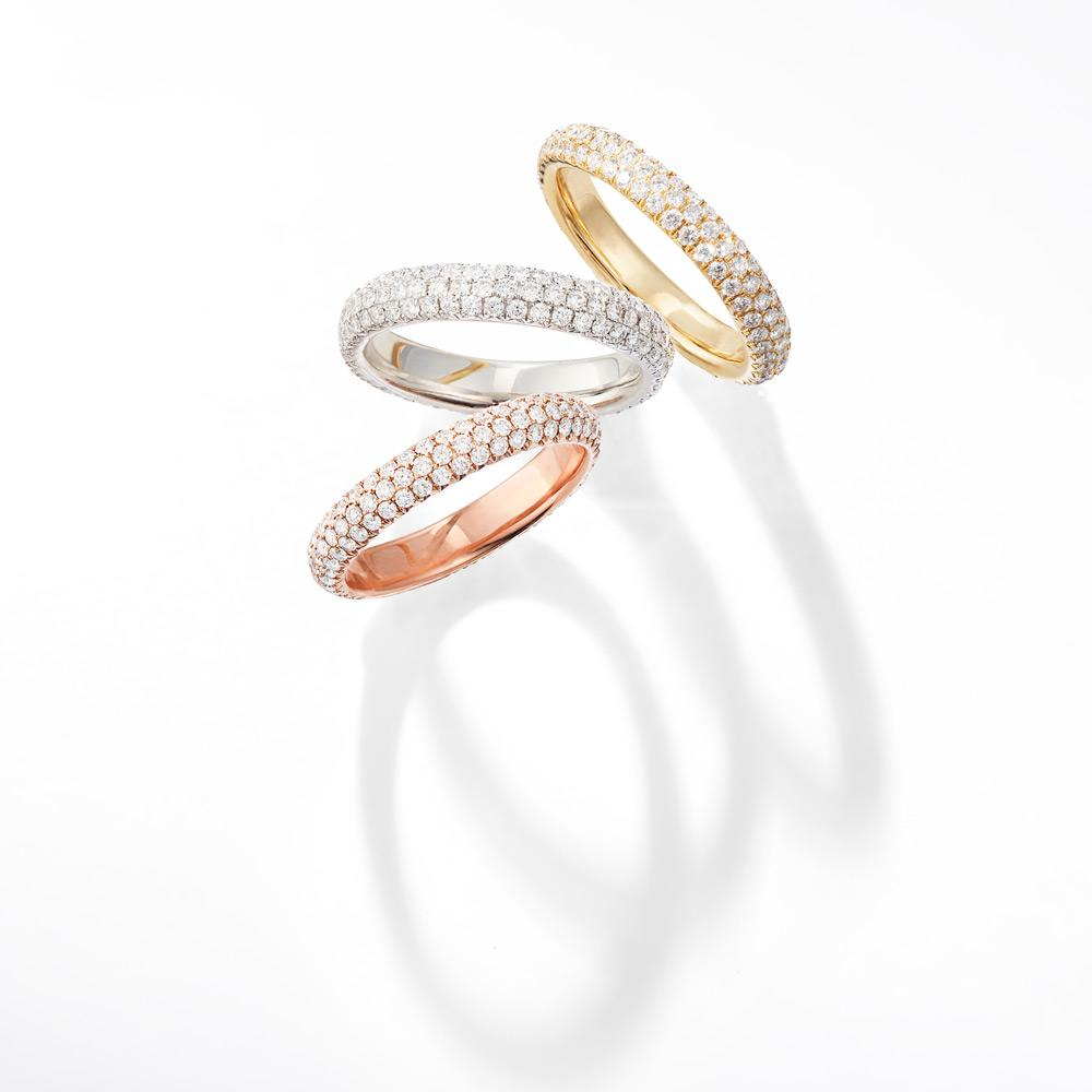 18K Gold Band with Brilliant Cut Pave Diamonds. Available in White, Rose and Yellow Gold.