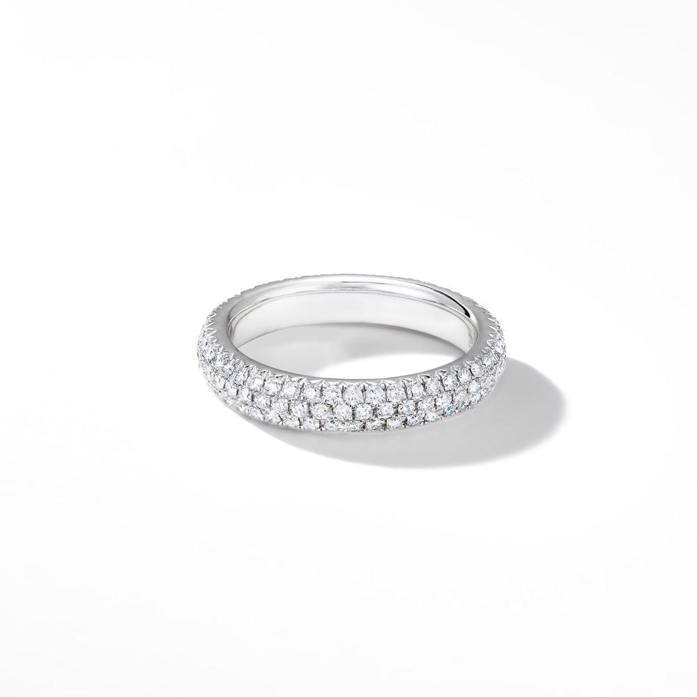 18K White Gold Band with Brilliant Cut Pave Diamonds.