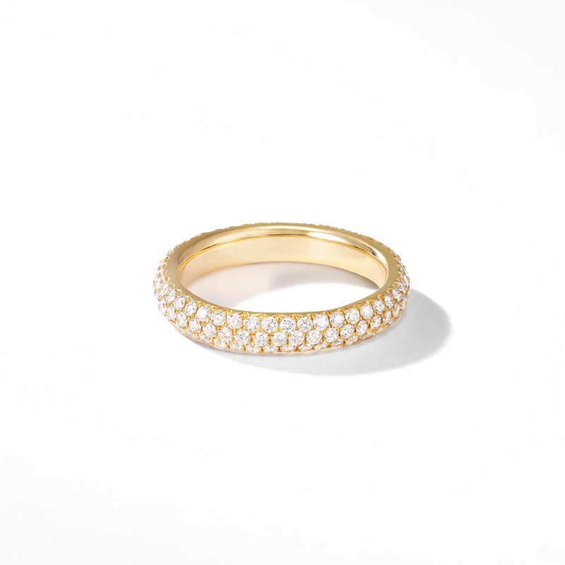 18K Yellow Gold Band with Brilliant Cut Pave Diamonds.