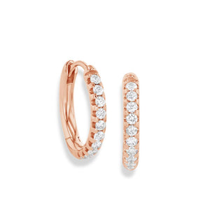 64Facets Pave Diamond Huggie Earrings in 18K Rose Gold