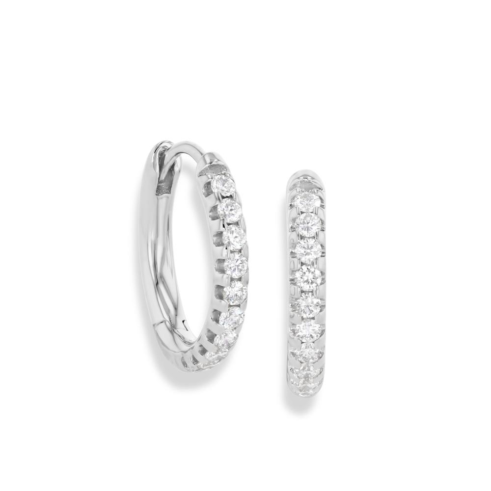 64Facets Pave Diamond Huggie Earrings in 18K White Gold