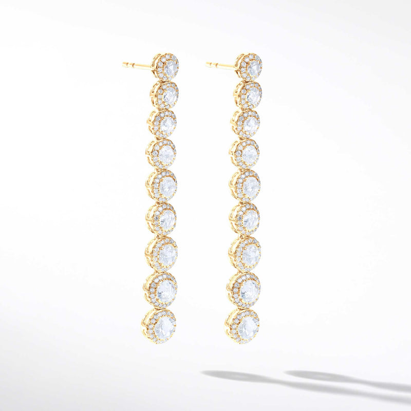 64Facets Scallop Diamond Drop Dangle Earrings. Rose Cut Diamonds Encircled with Pave Diamond Accents, Set in 18K Yellow Gold.
