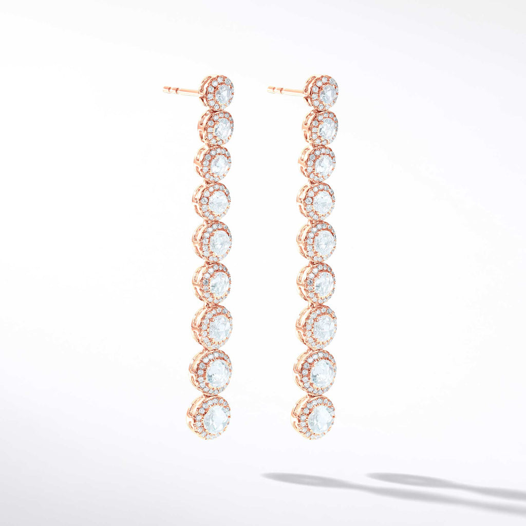 64Facets Scallop Diamond Drop Dangle Earrings. Rose Cut Diamonds Encircled with Pave Diamond Accents, Set in 18K Rose Gold.