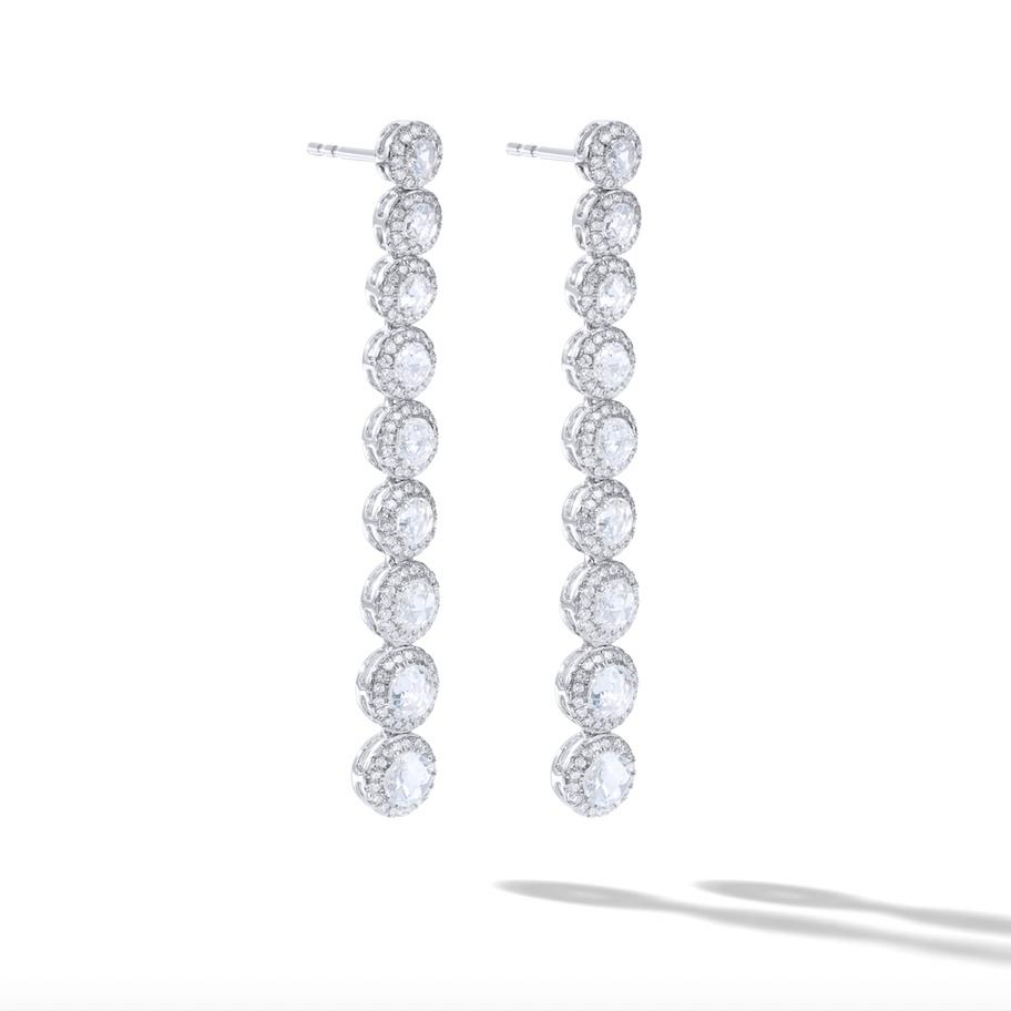 64Facets Scallop Diamond Drop Dangle Earrings. Rose Cut Diamonds Encircled with Pave Diamond Accents, Set in 18K White Gold.