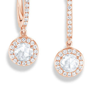 64Facets Rose Cut Diamond Drop Dangle Earrings in 18 Karat Gold