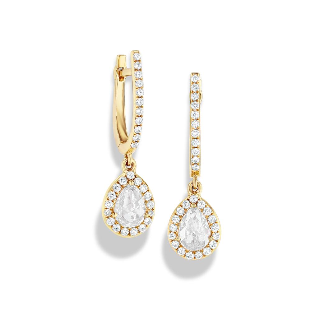 Scallop Diamond Drops - Available in White, Rose and Yellow Gold