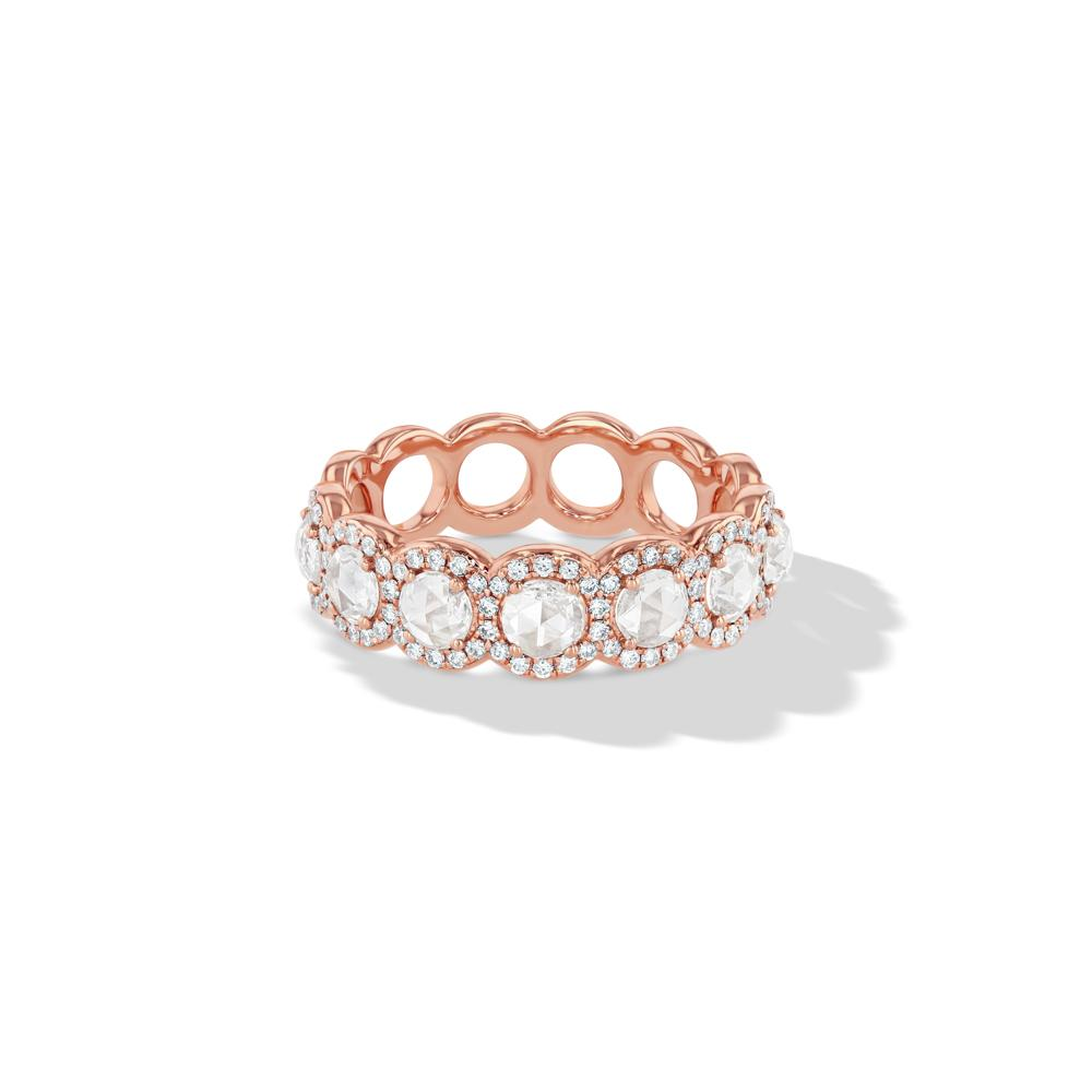 Scallop Diamond Half Ring - Available in White, Rose and Yellow Gold