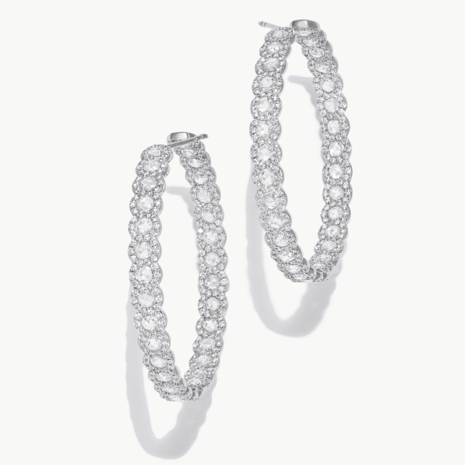 64Facets 18k white gold and diamond hoop earrings. Rose cut diamonds accented by smaller brilliant cut diamonds.