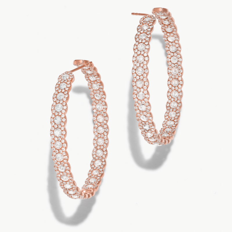 64Facets 18k rose gold and diamond hoop earrings. Rose cut diamonds accented by smaller brilliant cut diamonds.
