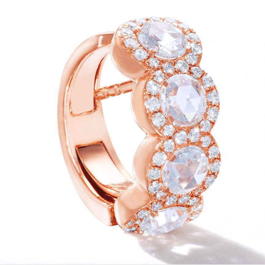 64Facets Scallop Rose Cut Diamond Huggie Hoop earrings in 18K Rose Gold with Brilliant Cut Diamond Pave Accents