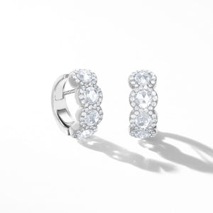 64Facets Scallop Rose Cut Diamond Huggie Hoop earrings in 18K White Gold with Brilliant Cut Diamond Pave Accents