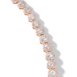 64Facets rose cut diamond tennis necklace with brilliant cut pave diamonds and 18K rose gold