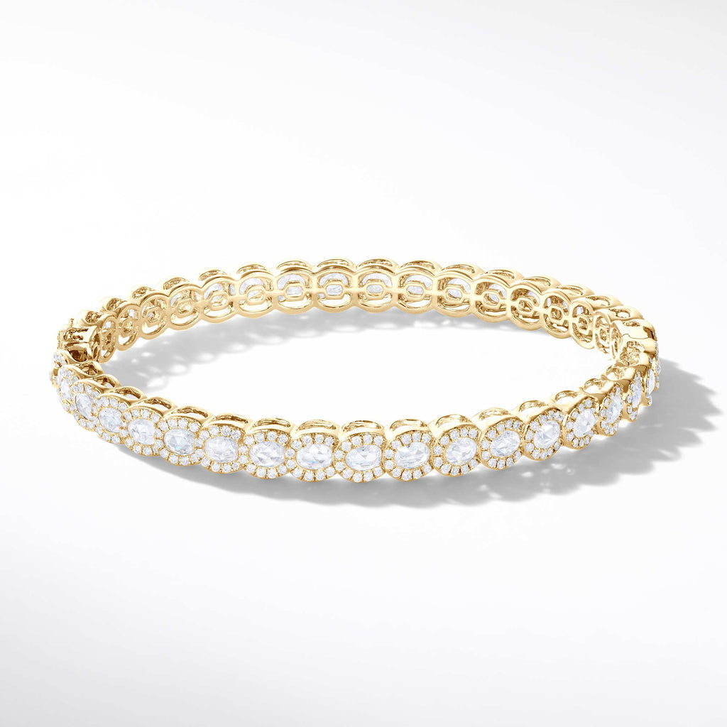 64Facets rose cut diamond bangle bracelet in 18 karat gold and pave diamond accents