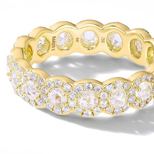 64Facets Rose Cut Scallop Diamond Band in 18K Gold and Brilliant Cut Diamond Pave Accents