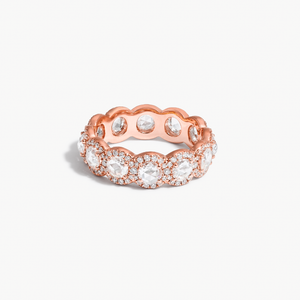Scallop Rose-Cut Diamond Band. Round rose-cut diamonds are accented by round brilliant-cut diamonds. This ring is 18k Rose Gold.