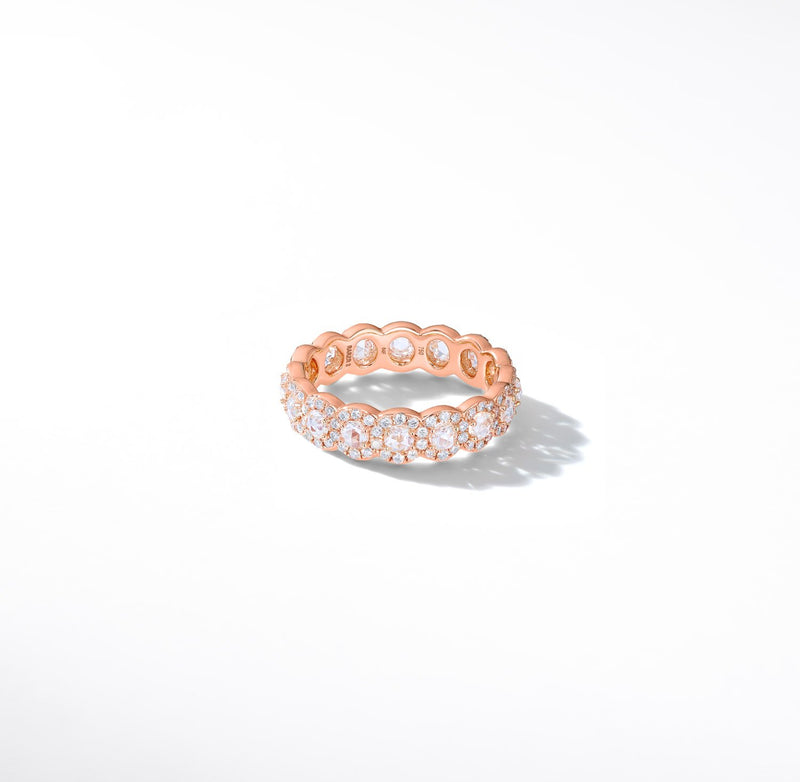 Scallop Rose-Cut Diamond Band. Round rose-cut diamonds are accented by round brilliant-cut diamonds. This ring is 18k White Gold.
