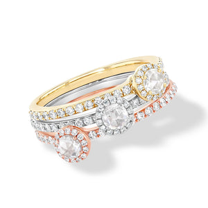 64Facets Rose Cut Diamond Solitaire Ring in Three Gold Colors: White, Rose and Yellow Gold with pave diamond details