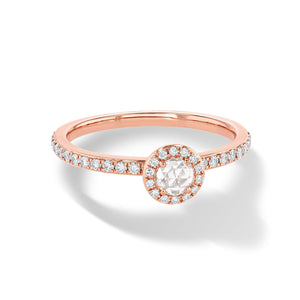 64Facets Rose Cut Diamond Solitaire Ring in 18K Rose Gold