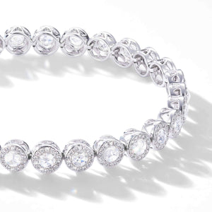 Scallop rose cut diamond tennis bracelet with small brilliant cut diamonds in a pave setting by 64Facets. 18K Gold.