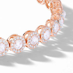 Scallop rose cut diamond tennis bracelet with small brilliant cut diamonds in a pave setting by 64Facets. 18K Rose Gold
