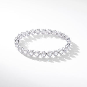 Scallop rose cut diamond tennis bracelet with small brilliant cut diamonds in a pave setting by 64Facets