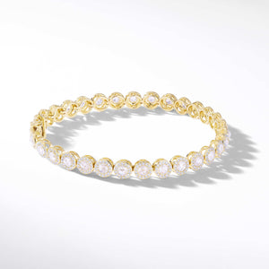64Facets Scallop Rose Cut Diamond Tennis Bracelet in 18K Yellow Gold