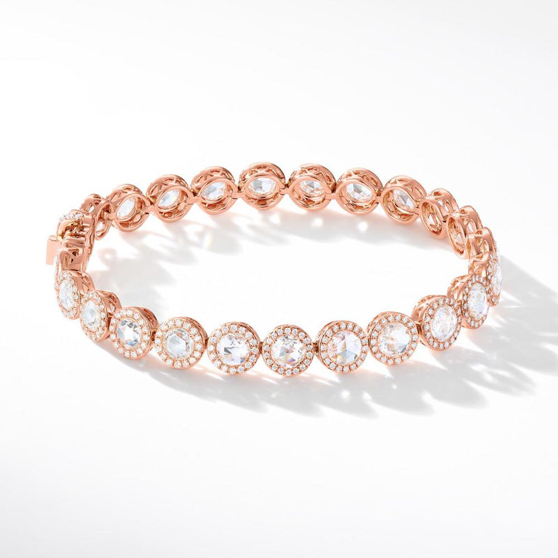 Diamond Tennis Bracelets, Large and Small. Round rose-cut diamonds accented by round brilliant-cut diamonds. 18k White and Rose Gold.