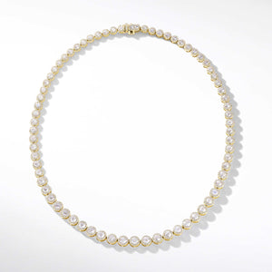 64Facets Scallop Diamond Tennis Necklace in 18K Yellow Gold.