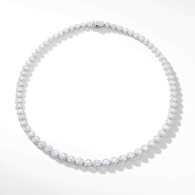 64Facets rose cut diamond tennis necklace with brilliant cut pave diamonds and 18K white gold