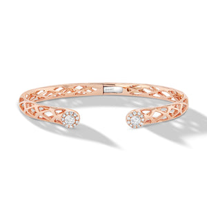 64Facets Scallop Cuff Diamond Bangle Bracelet in 18K Rose Gold