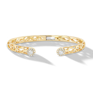 64Facets Scallop Cuff Diamond Bangle Bracelet in 18K Yellow Gold